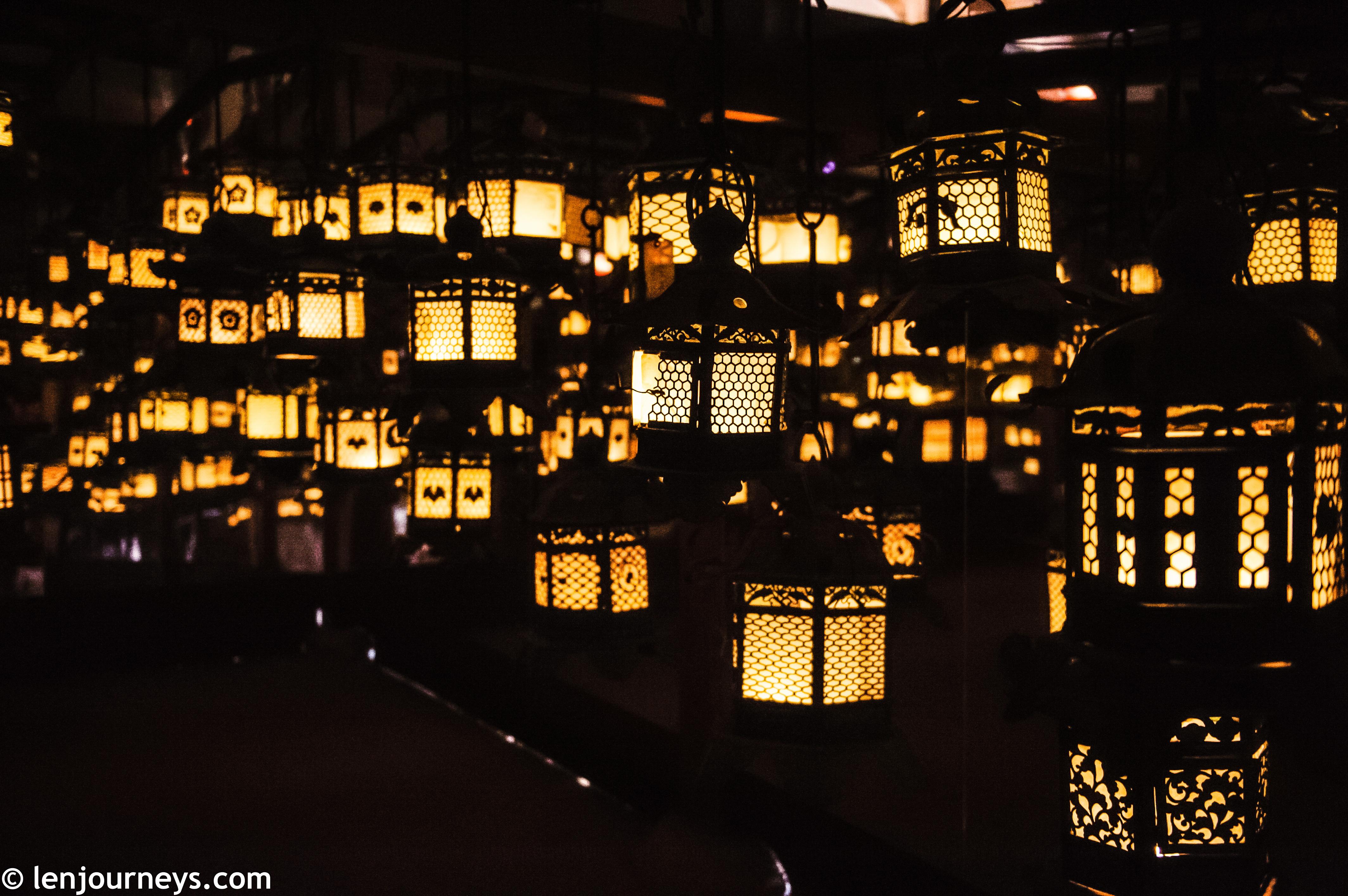 Lit-up lanterns