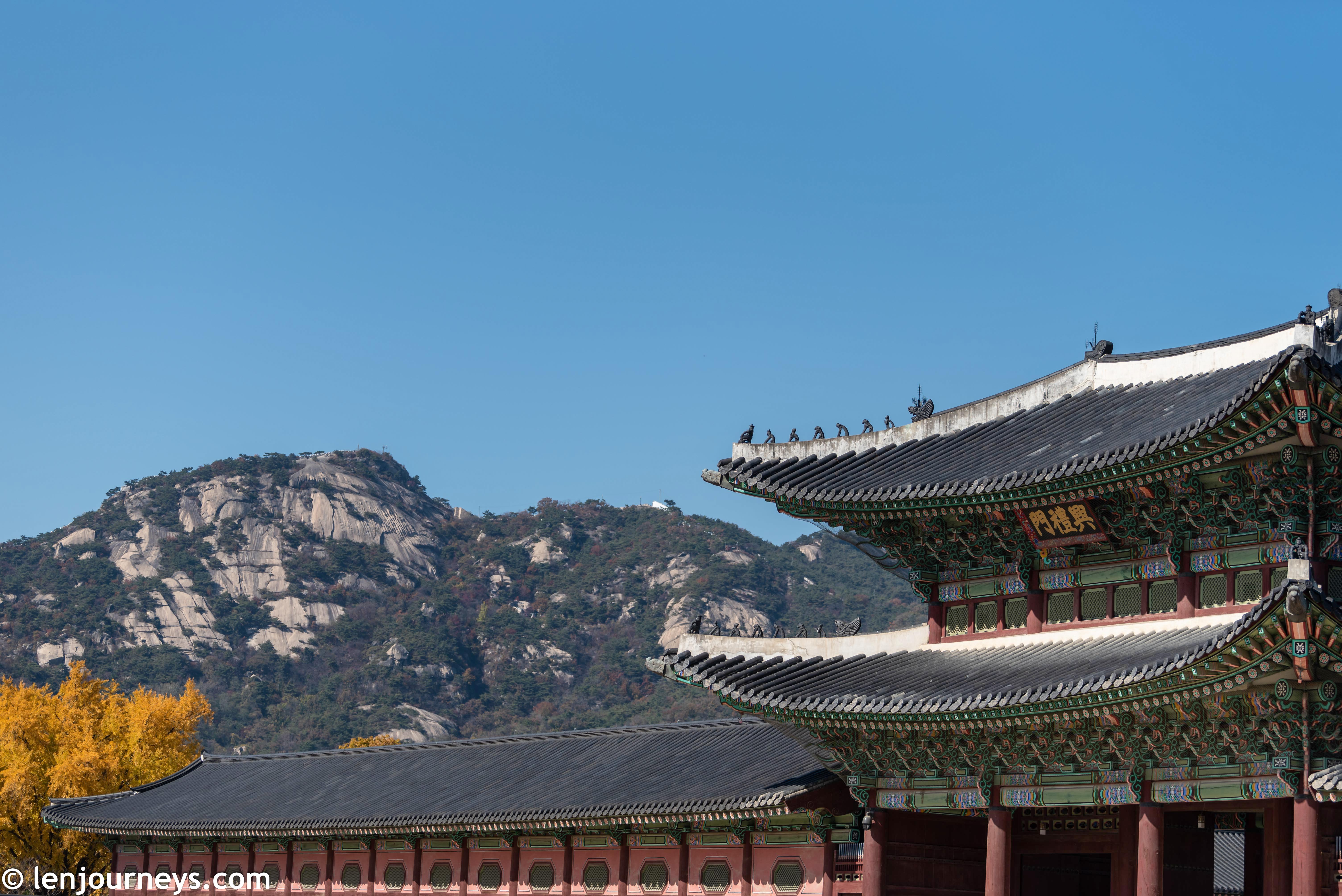 Gyeongbokgung with Mount Bugaksan as backdrop