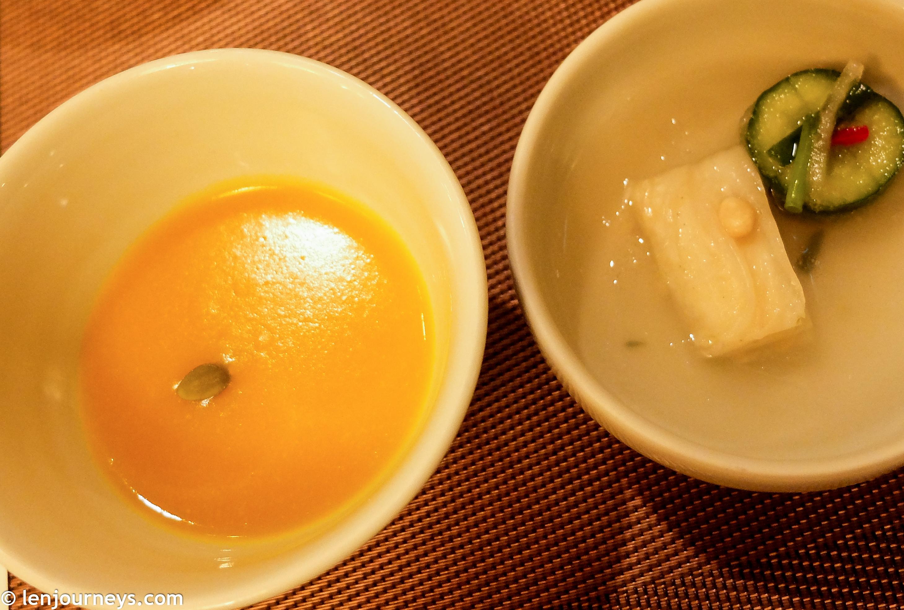 Pumpkin soup & Watery kimchi