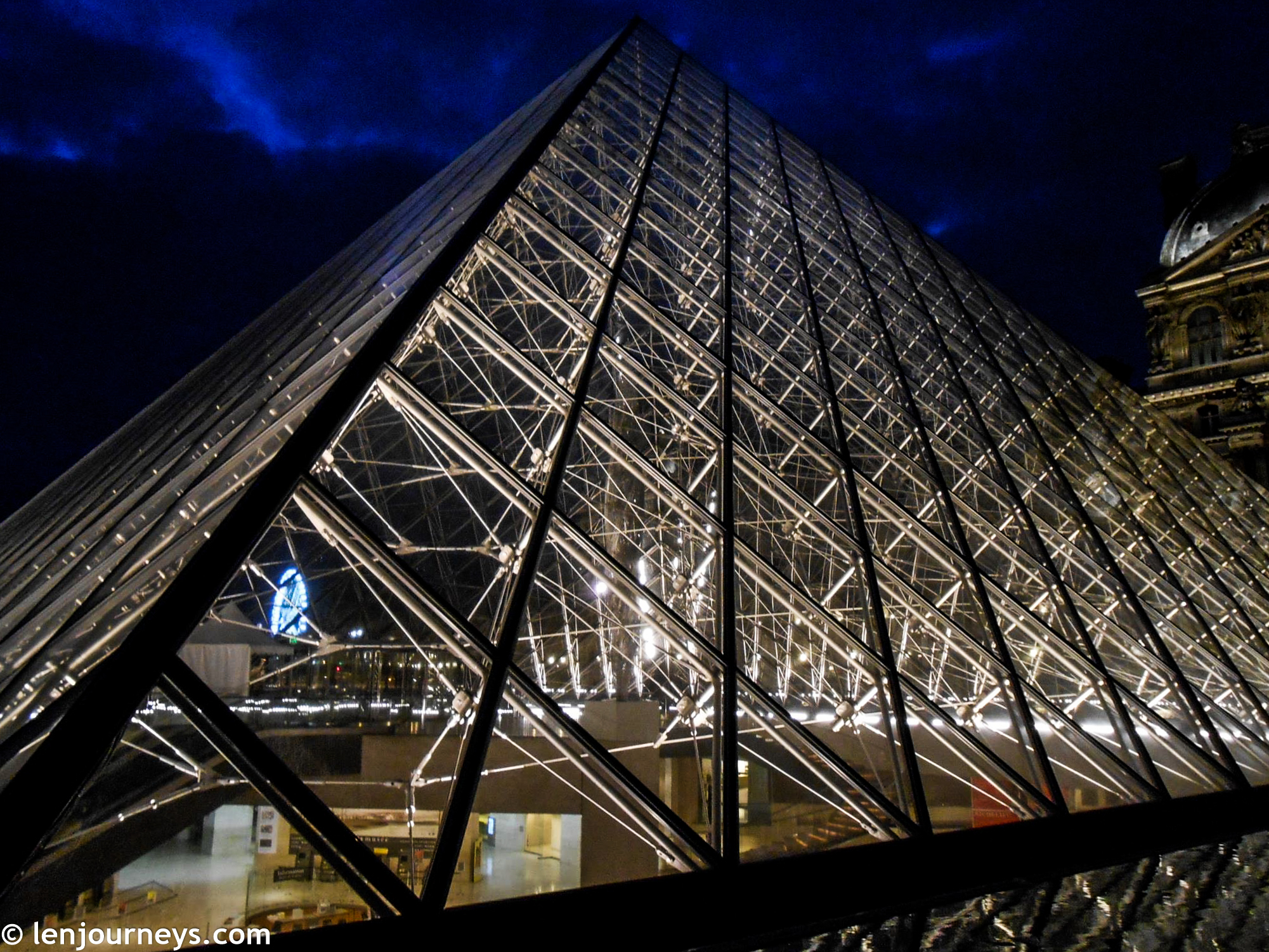 The glass pyramid at night
