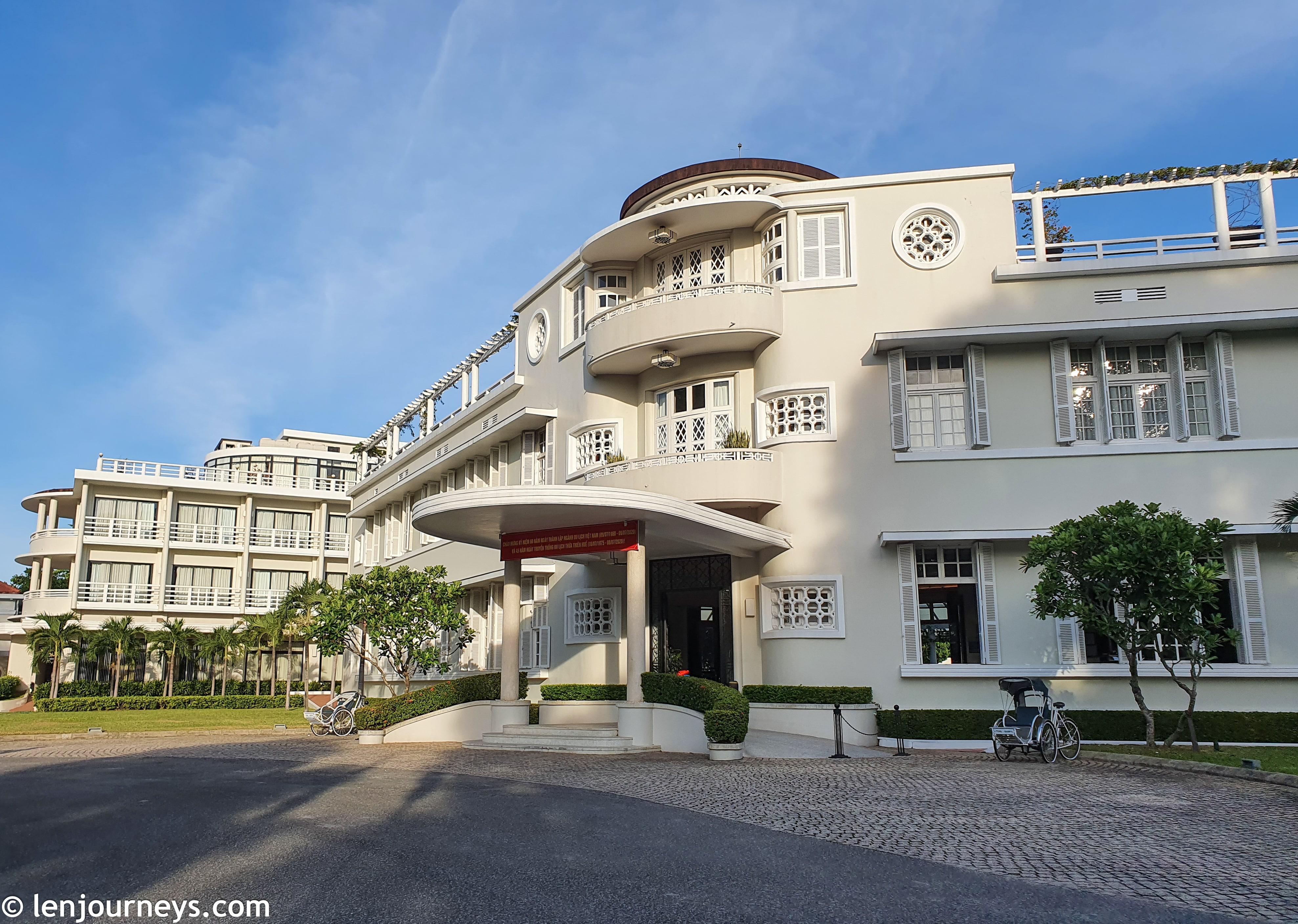 Distinctive facade of Azerai La Residence