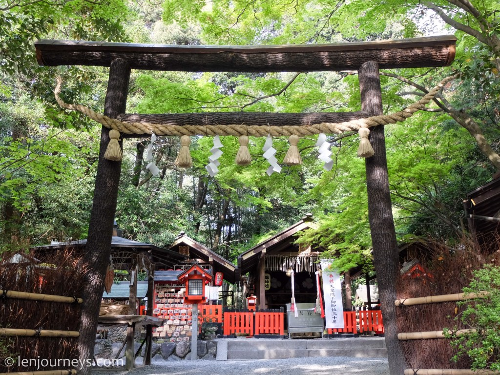 A beautiful shrine at the entrance of Arashiyama Bamboo Groves