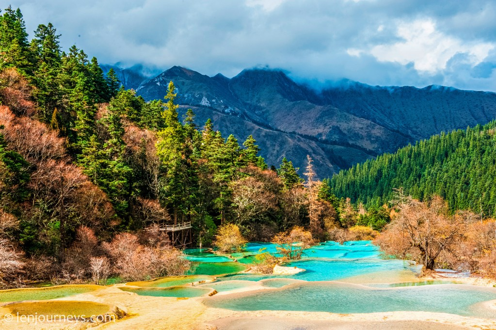 Travertine terraces in Huanglong